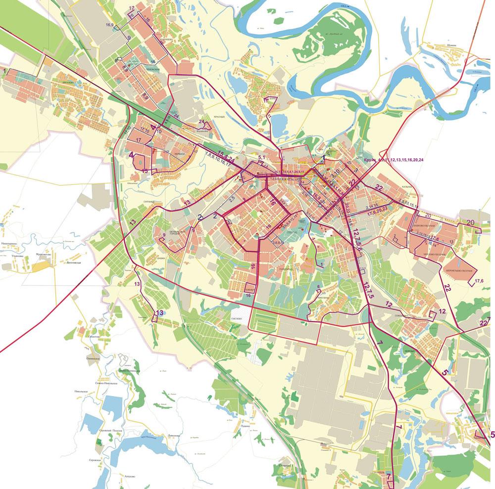 Схема движения маршрутов автобуса в Рязани.